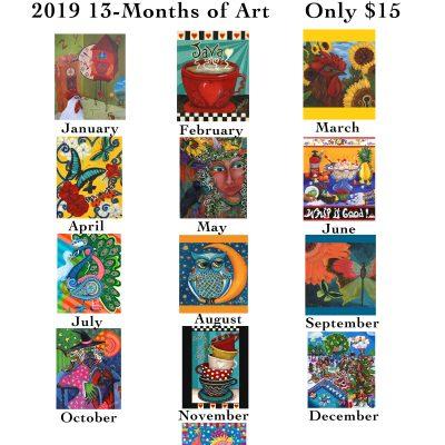 2019 13-Month Art Calendar